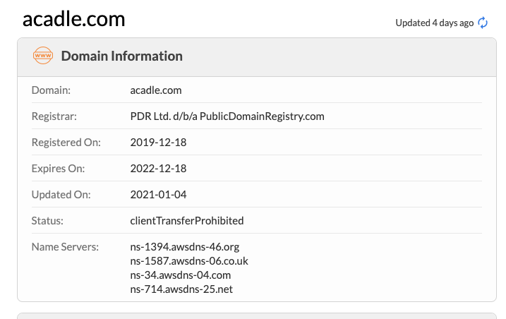 Acadle Domain info
