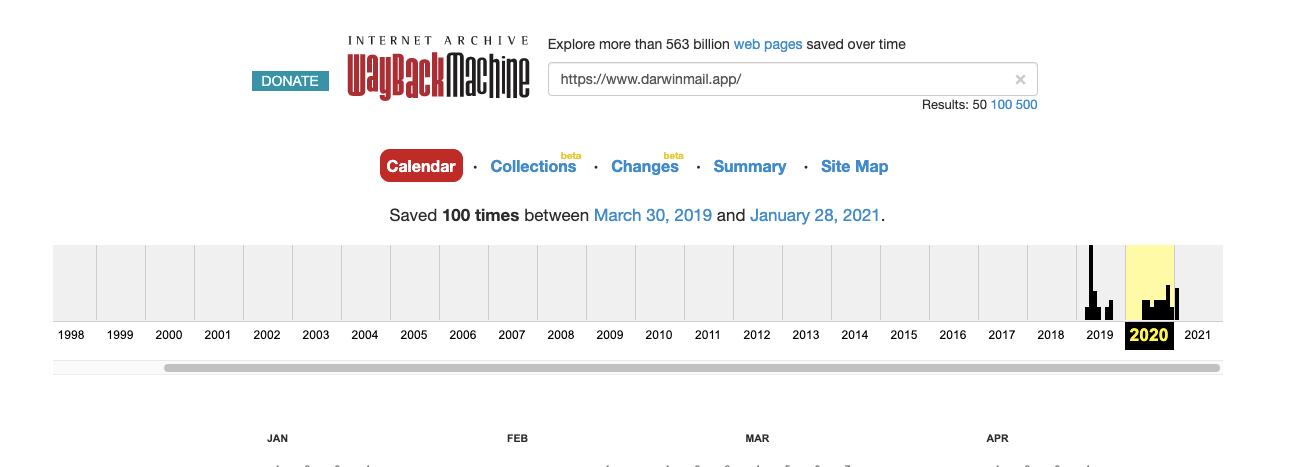 DarwinMail Domain History