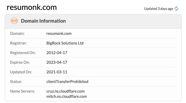 Resumonk Domain Info