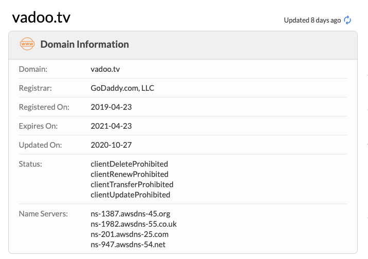 Vadootv Domain Info
